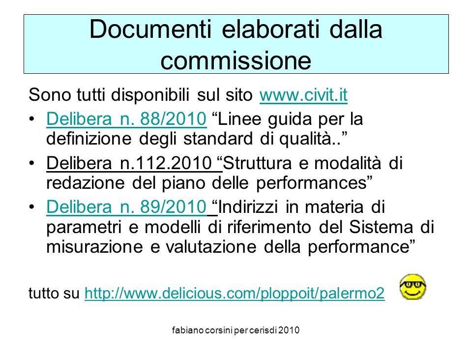 fabiano corsini per cerisdi 2010 Documenti elaborati dalla commissione Sono tutti disponibili sul sito www.civit.itwww.civit.it Delibera n.