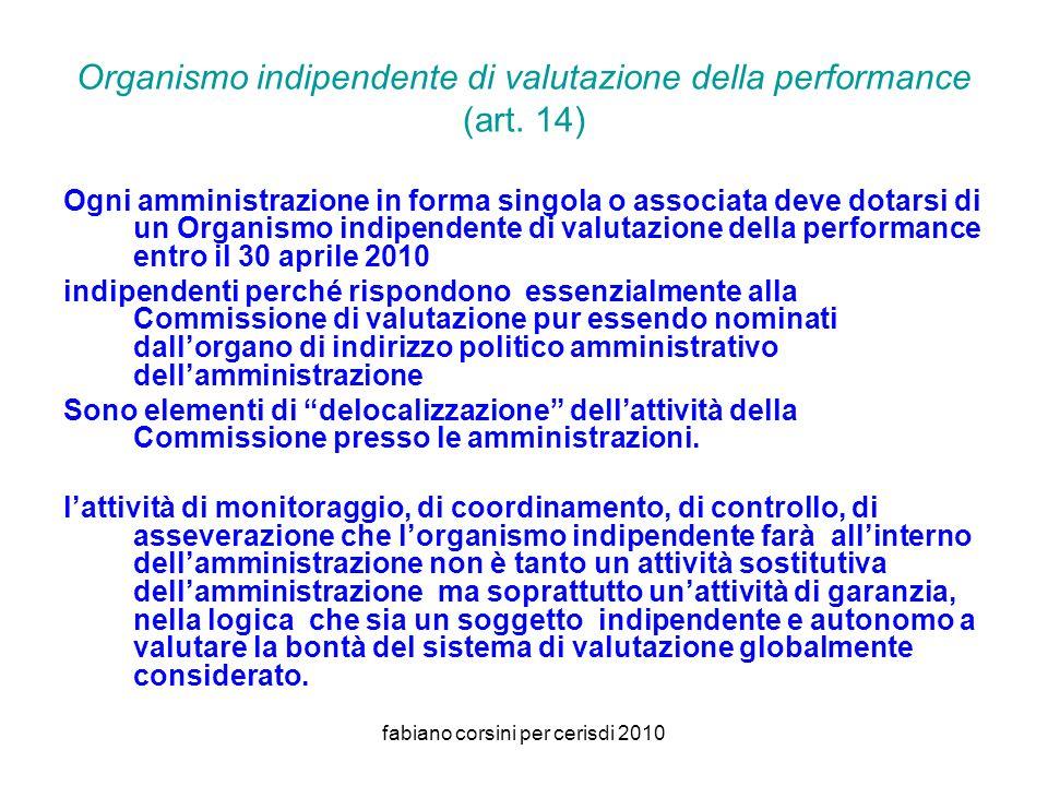 fabiano corsini per cerisdi 2010 Organismo indipendente di valutazione della performance (art.