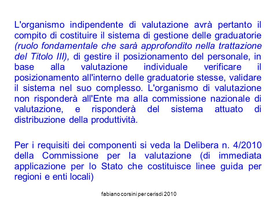 fabiano corsini per cerisdi 2010 Organismo Indipendente di Valutazione (art.