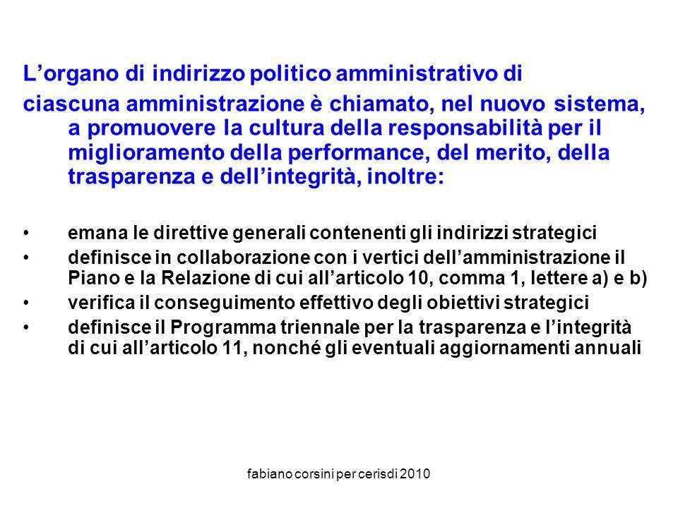 fabiano corsini per cerisdi 2010 Responsabilità dellorgano di indirizzo politico-amministrativo (art.