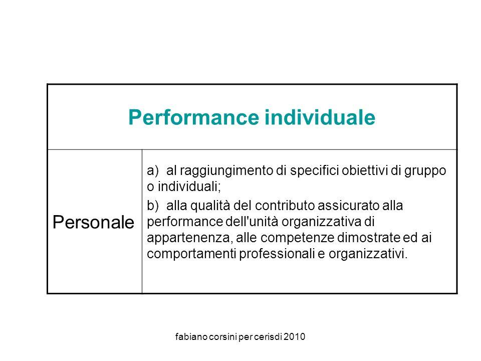 fabiano corsini per cerisdi 2010 Performance individuale Personale a) al raggiungimento di specifici obiettivi di gruppo o individuali; b) alla qualità del contributo assicurato alla performance dell unità organizzativa di appartenenza, alle competenze dimostrate ed ai comportamenti professionali e organizzativi.