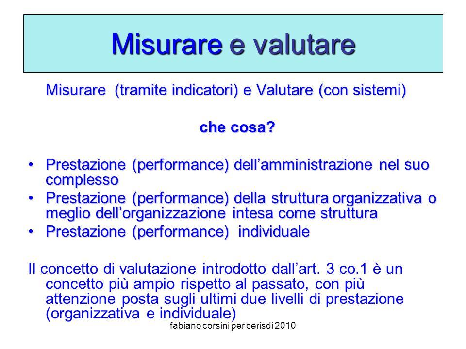 fabiano corsini per cerisdi 2010 Misurare e valutare Misurare (tramite indicatori) e Valutare (con sistemi) che cosa.