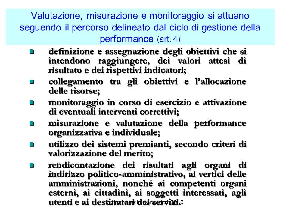 fabiano corsini per cerisdi 2010 Valutazione, misurazione e monitoraggio si attuano seguendo il percorso delineato dal ciclo di gestione della performance (art.