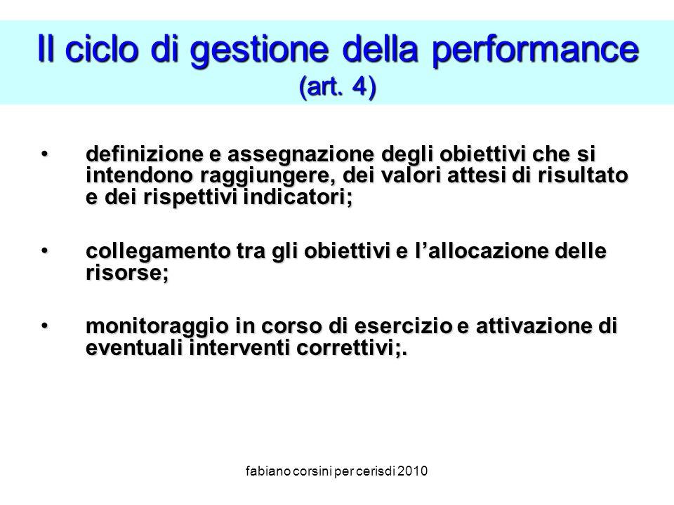 fabiano corsini per cerisdi 2010 Il ciclo di gestione della performance (art.