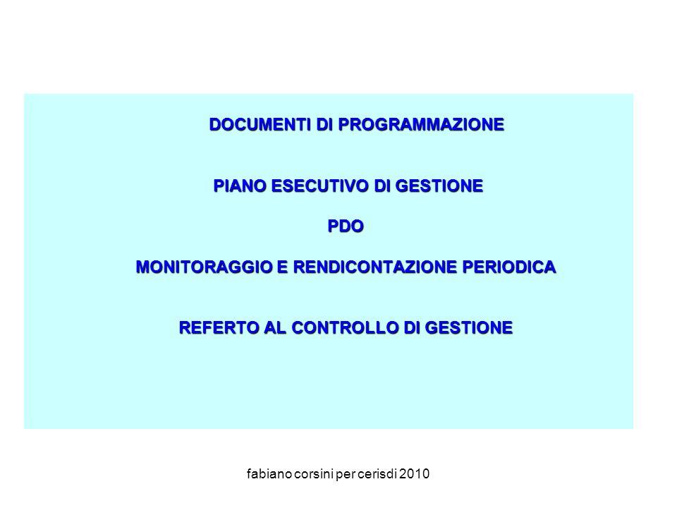 fabiano corsini per cerisdi 2010 DOCUMENTI DI PROGRAMMAZIONE PIANO ESECUTIVO DI GESTIONE PIANO ESECUTIVO DI GESTIONEPDO MONITORAGGIO E RENDICONTAZIONE PERIODICA REFERTO AL CONTROLLO DI GESTIONE