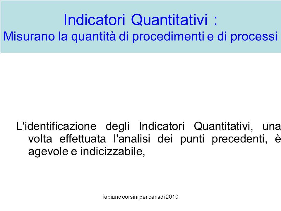 fabiano corsini per cerisdi 2010 Indicatori Quantitativi : Misurano la quantità di procedimenti e di processi L identificazione degli Indicatori Quantitativi, una volta effettuata l analisi dei punti precedenti, è agevole e indicizzabile,