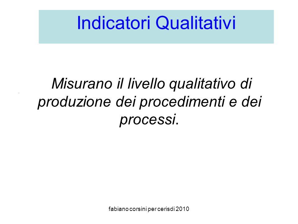 fabiano corsini per cerisdi 2010 Misurano il livello qualitativo di produzione dei procedimenti e dei processi..
