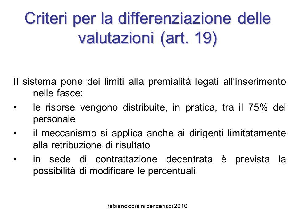 fabiano corsini per cerisdi 2010 Criteri per la differenziazione delle valutazioni (art.