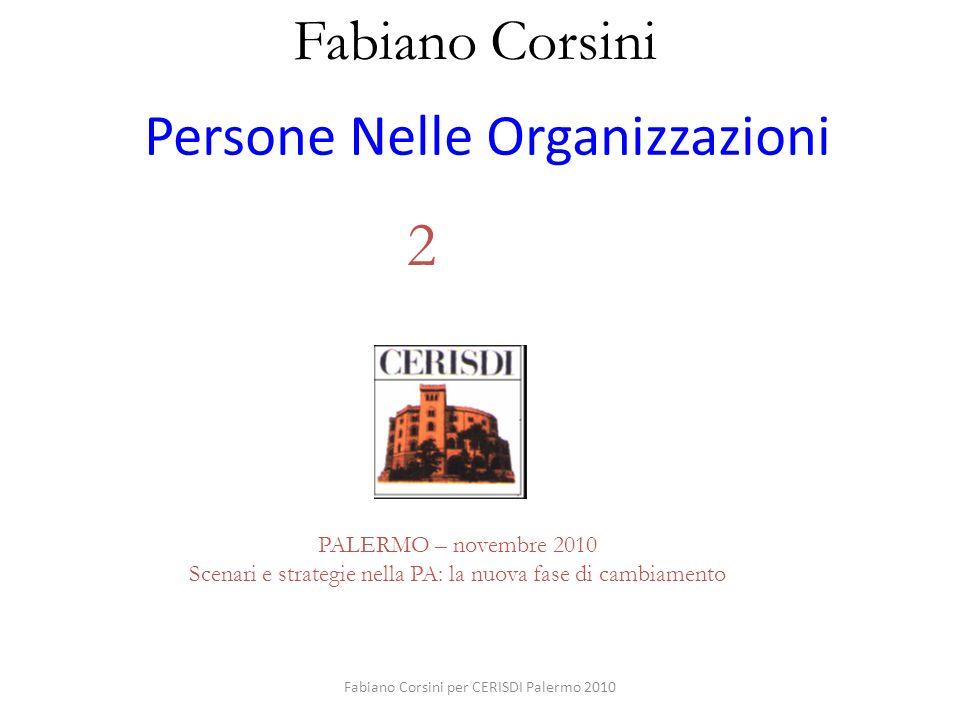 Fabiano Corsini per CERISDI Palermo 2010 Persone Nelle Organizzazioni Fabiano Corsini CENTRO RICERCHE E STUDI DIREZIONALI PALERMO – novembre 2010 Scen