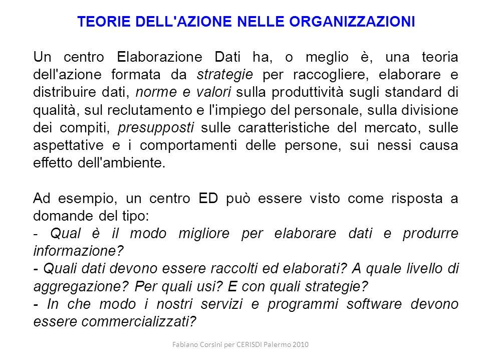 Fabiano Corsini per CERISDI Palermo 2010 TEORIE DELL'AZIONE NELLE ORGANIZZAZIONI Un centro Elaborazione Dati ha, o meglio è, una teoria dell'azione fo