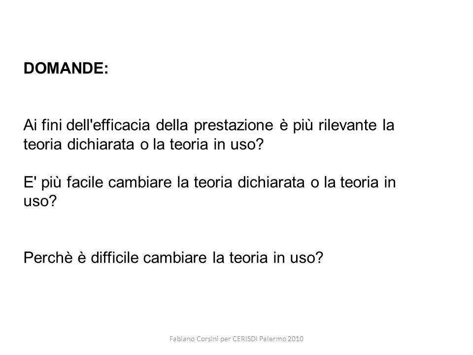 Fabiano Corsini per CERISDI Palermo 2010 DOMANDE: Ai fini dell efficacia della prestazione è più rilevante la teoria dichiarata o la teoria in uso.