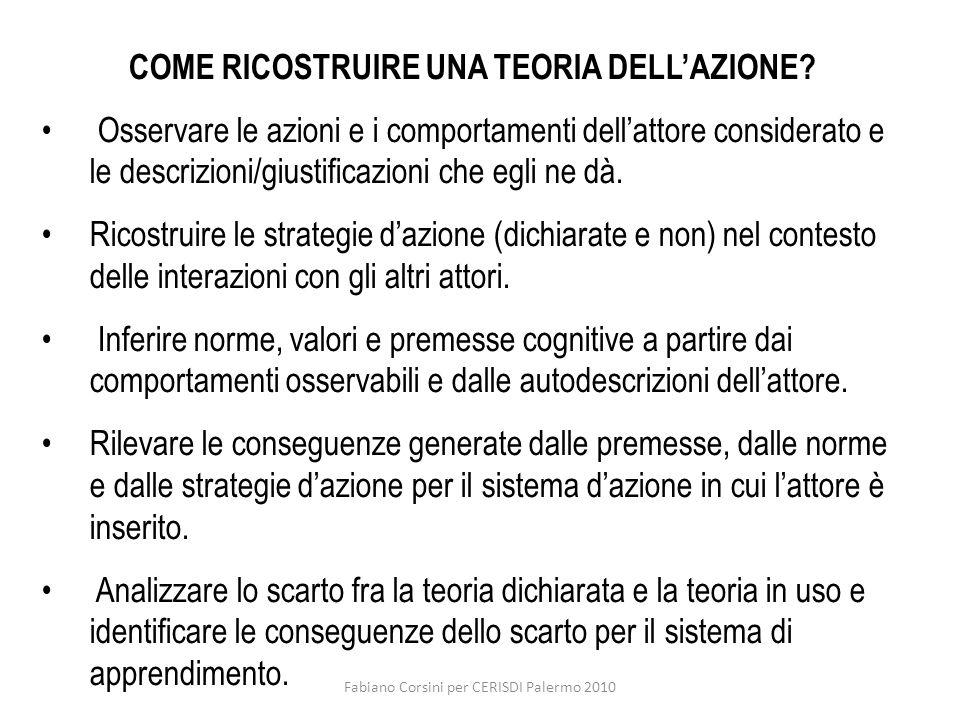Fabiano Corsini per CERISDI Palermo 2010 COME RICOSTRUIRE UNA TEORIA DELLAZIONE? Osservare le azioni e i comportamenti dellattore considerato e le des