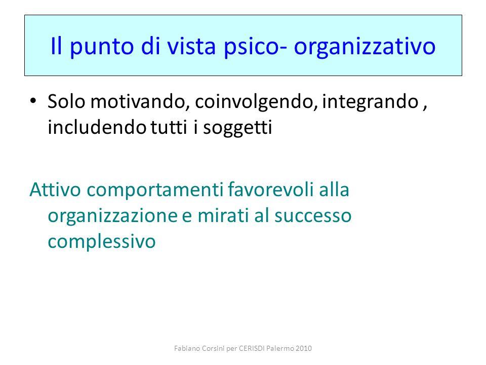 Fabiano Corsini per CERISDI Palermo 2010 Il punto di vista psico- organizzativo Solo motivando, coinvolgendo, integrando, includendo tutti i soggetti