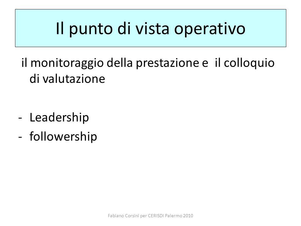 Fabiano Corsini per CERISDI Palermo 2010 Il punto di vista operativo il monitoraggio della prestazione e il colloquio di valutazione -Leadership -followership