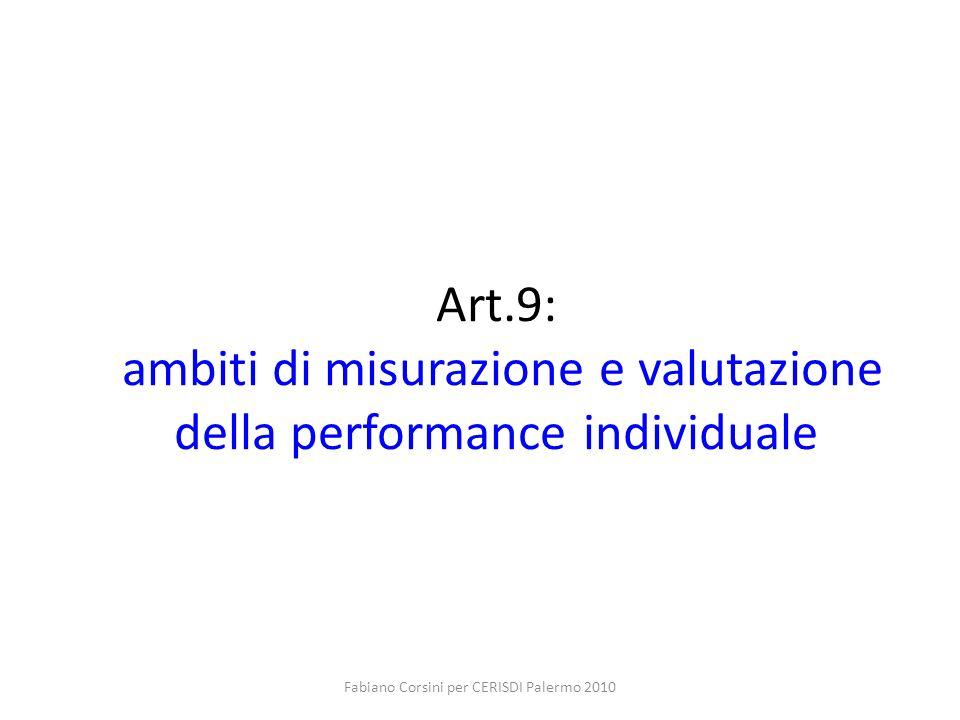 Fabiano Corsini per CERISDI Palermo 2010 Art.9: ambiti di misurazione e valutazione della performance individuale