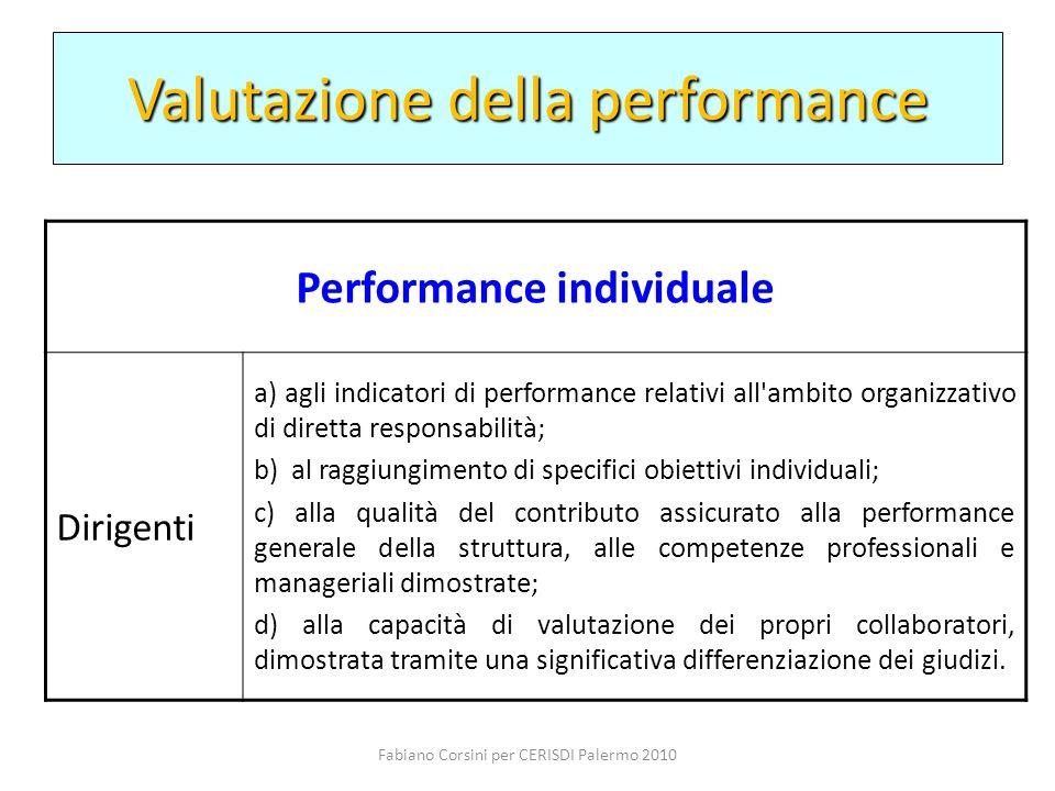Fabiano Corsini per CERISDI Palermo 2010 Performance individuale Dirigenti a) agli indicatori di performance relativi all'ambito organizzativo di dire
