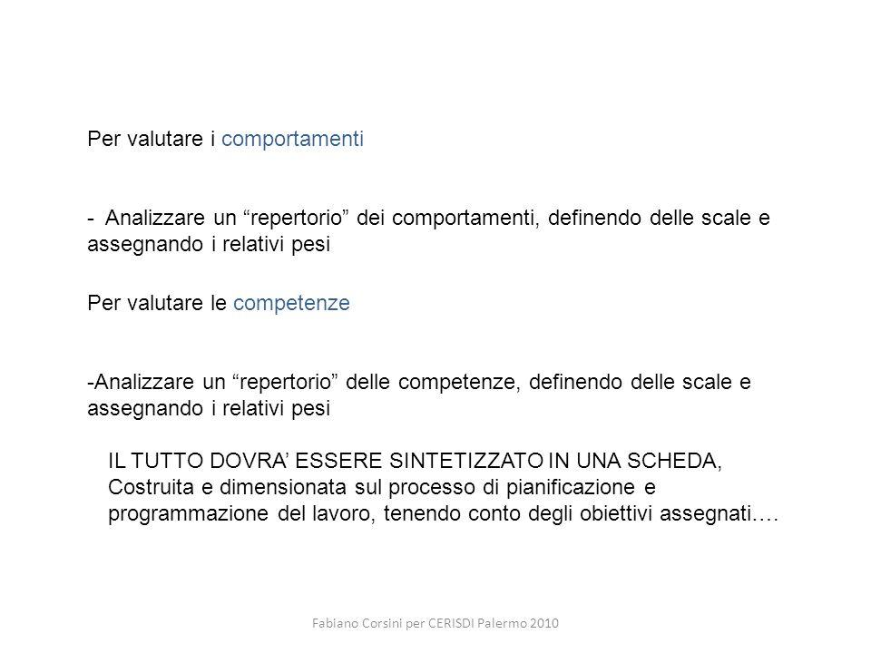 Fabiano Corsini per CERISDI Palermo 2010 Per valutare i comportamenti - Analizzare un repertorio dei comportamenti, definendo delle scale e assegnando