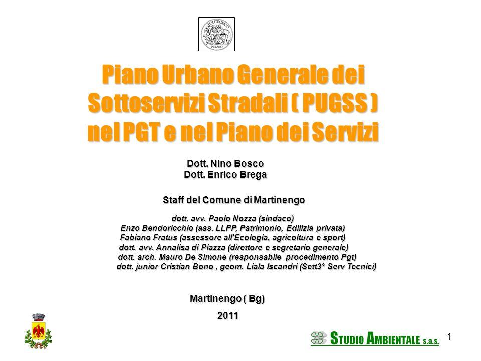 11 Piano Urbano Generale dei Sottoservizi Stradali ( PUGSS ) nel PGT e nel Piano dei Servizi Dott. Nino Bosco Dott. Enrico Brega Martinengo ( Bg) 2011