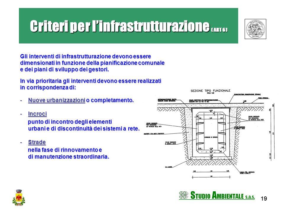 19 Gli interventi di infrastrutturazione devono essere dimensionati in funzione della pianificazione comunale e dei piani di sviluppo dei gestori. In