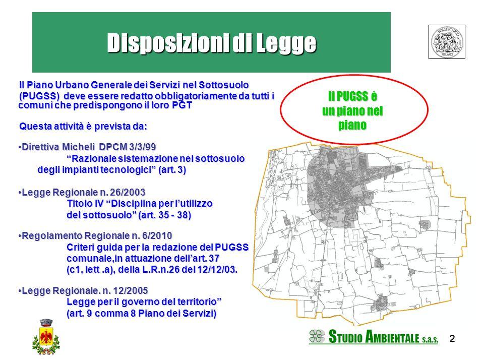 222 Disposizioni di Legge Il Piano Urbano Generale dei Servizi nel Sottosuolo (PUGSS) deve essere redatto obbligatoriamente da tutti i comuni che pred