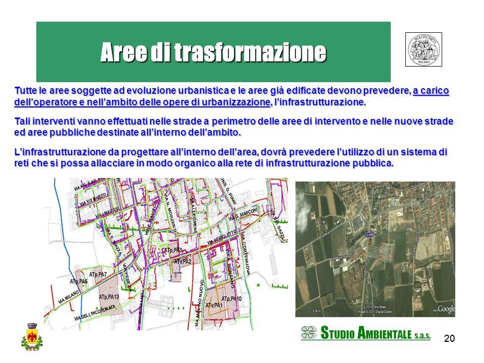 20 Tutte le aree soggette ad evoluzione urbanistica e le aree già edificate devono prevedere, a carico delloperatore e nellambito delle opere di urban