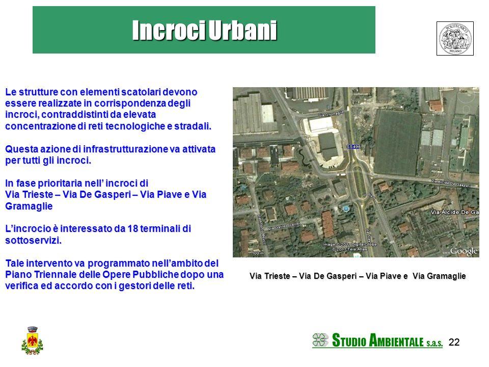 22 Incroci Urbani Le strutture con elementi scatolari devono essere realizzate in corrispondenza degli incroci, contraddistinti da elevata concentrazi