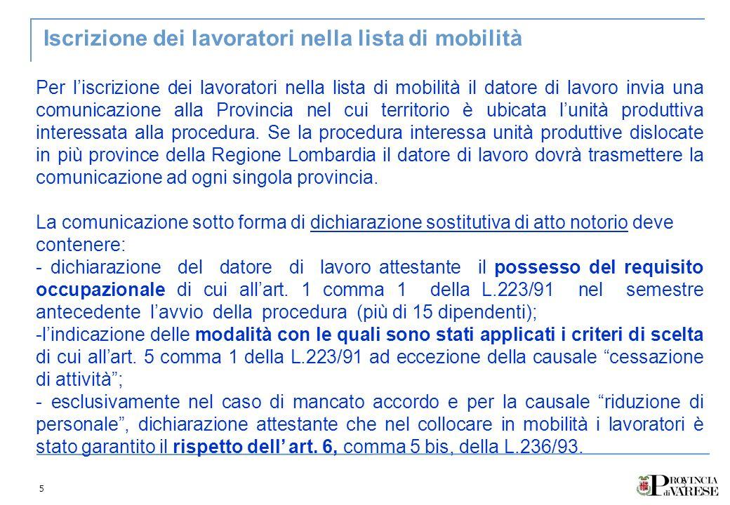 5 5 Iscrizione dei lavoratori nella lista di mobilità Per liscrizione dei lavoratori nella lista di mobilità il datore di lavoro invia una comunicazio