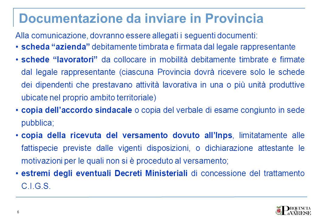 6 6 Documentazione da inviare in Provincia Alla comunicazione, dovranno essere allegati i seguenti documenti: scheda azienda debitamente timbrata e fi
