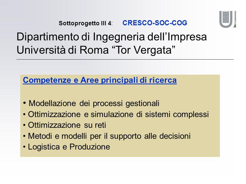 Sottoprogetto III 4: CRESCO-SOC-COG Dipartimento di Ingegneria dellImpresa Università di Roma Tor Vergata Competenze e Aree principali di ricerca Mode