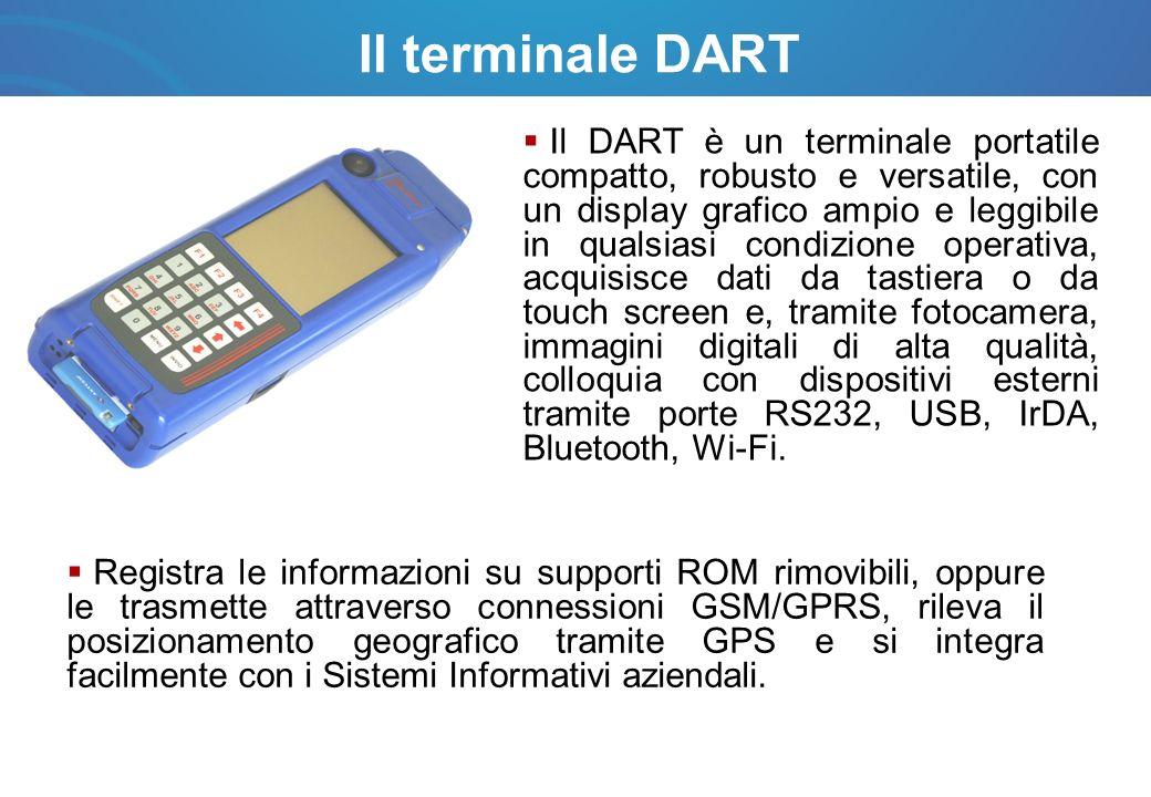 Il terminale DART Il Dart è in grado di interfacciare i servizi territoriali, consentendo lacquisizione di informazioni di diversa natura (dati spaziali, alfanumerici ed immagini digitali), per i quali viene fornita la certificazione di data e il luogo di acquisizione.