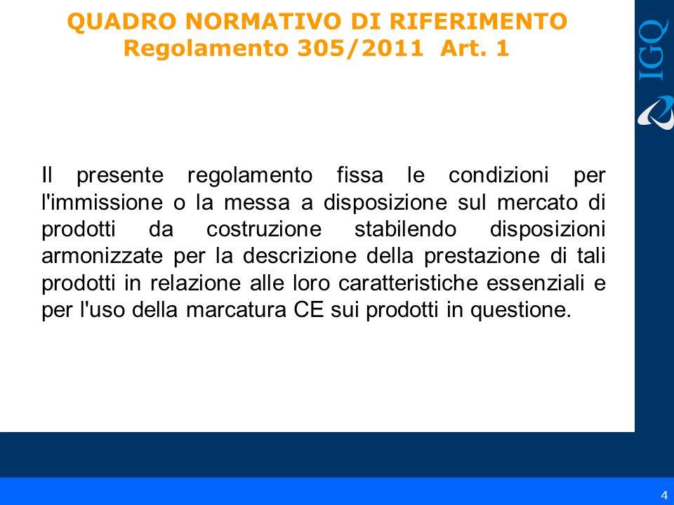 5 QUADRO NORMATIVO DI RIFERIMENTO Regolamento 305/2011 Art.