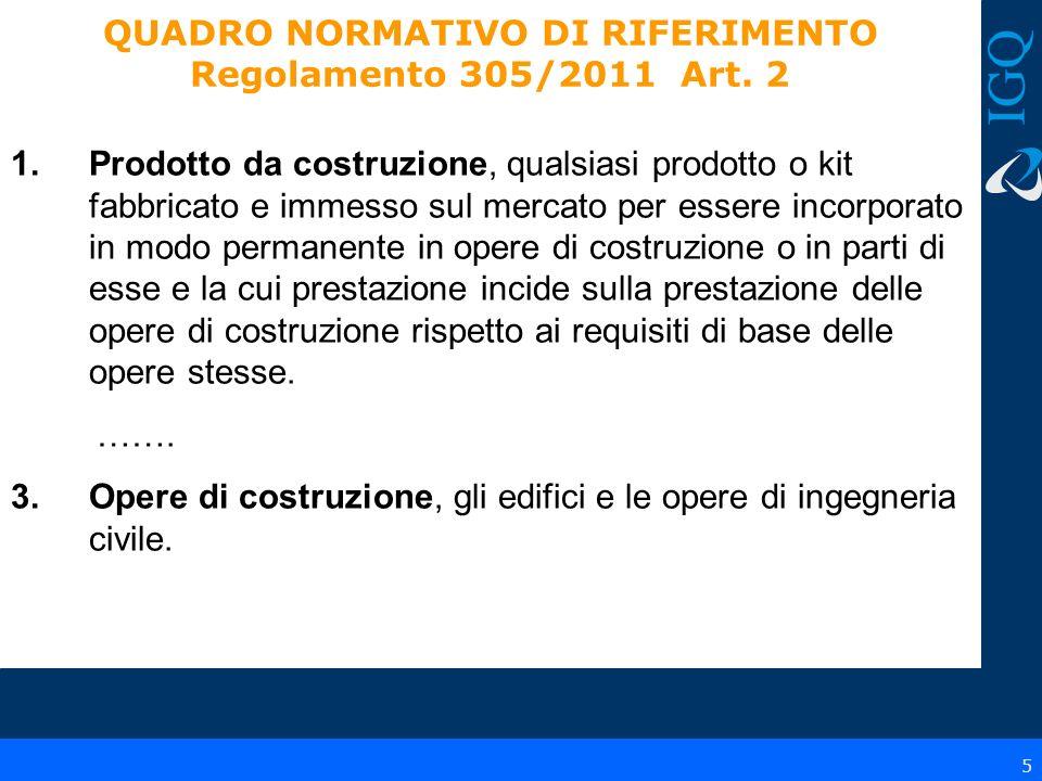 6 QUADRO NORMATIVO DI RIFERIMENTO Regolamento 305/2011 Art.