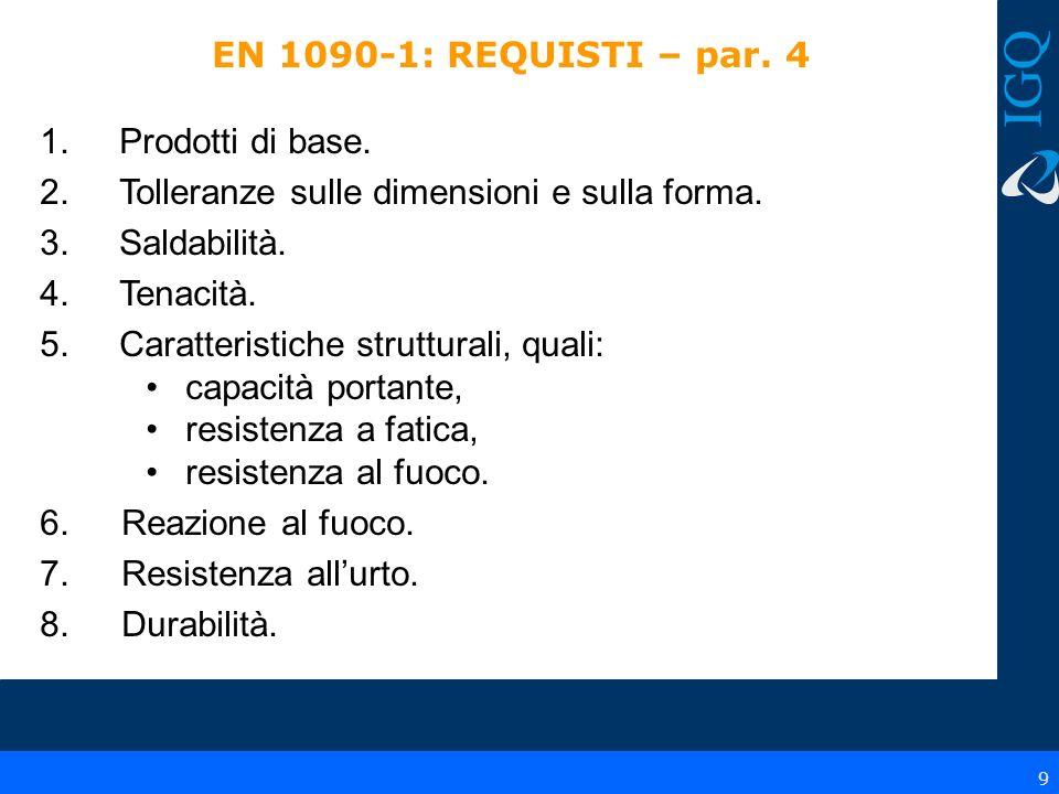10 EN 1090-1 - Metodi di valutazione – par.5 Per ognuno dei requisiti del par.