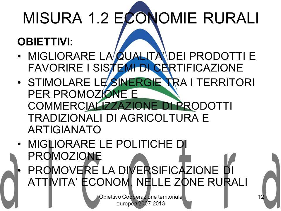 Obiettivo Cooperazione territoriale europea 2007-2013 12 MISURA 1.2 ECONOMIE RURALI OBIETTIVI: MIGLIORARE LA QUALITA DEI PRODOTTI E FAVORIRE I SISTEMI
