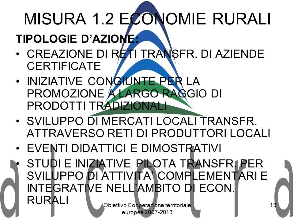 Obiettivo Cooperazione territoriale europea 2007-2013 13 MISURA 1.2 ECONOMIE RURALI TIPOLOGIE DAZIONE: CREAZIONE DI RETI TRANSFR. DI AZIENDE CERTIFICA