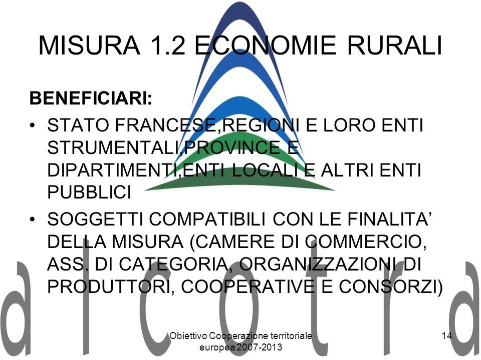 Obiettivo Cooperazione territoriale europea 2007-2013 14 MISURA 1.2 ECONOMIE RURALI BENEFICIARI: STATO FRANCESE,REGIONI E LORO ENTI STRUMENTALI,PROVIN
