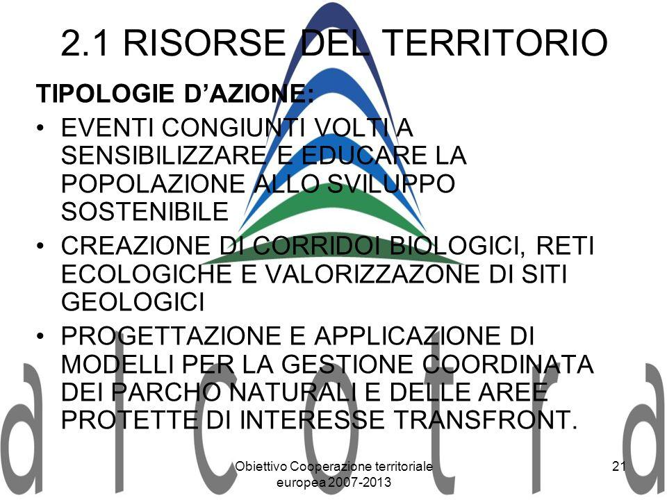 Obiettivo Cooperazione territoriale europea 2007-2013 21 2.1 RISORSE DEL TERRITORIO TIPOLOGIE DAZIONE: EVENTI CONGIUNTI VOLTI A SENSIBILIZZARE E EDUCA