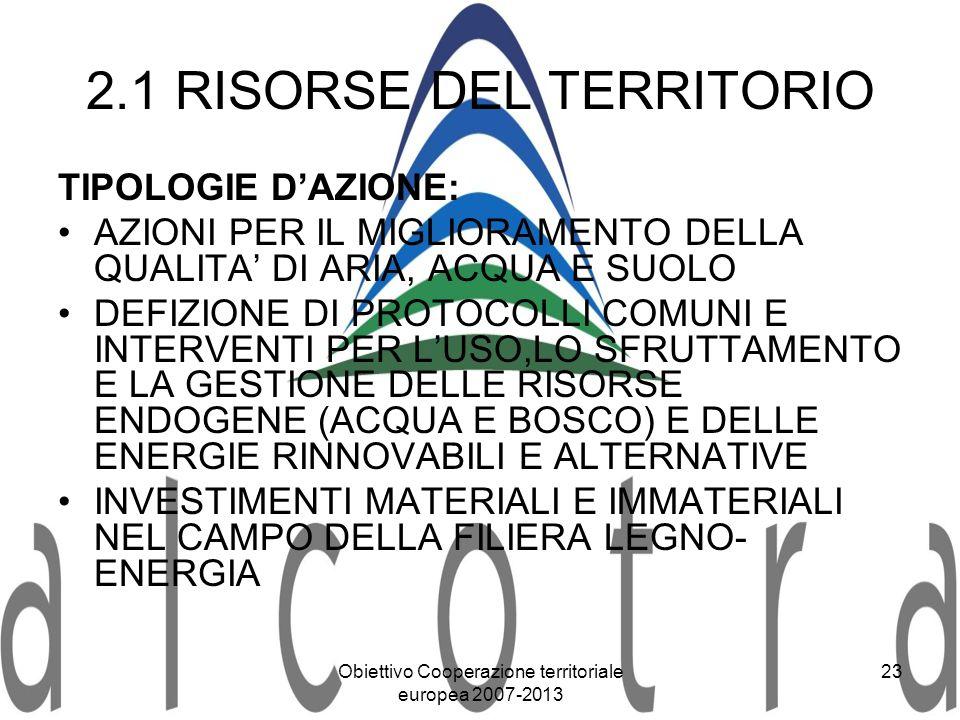 Obiettivo Cooperazione territoriale europea 2007-2013 23 2.1 RISORSE DEL TERRITORIO TIPOLOGIE DAZIONE: AZIONI PER IL MIGLIORAMENTO DELLA QUALITA DI AR