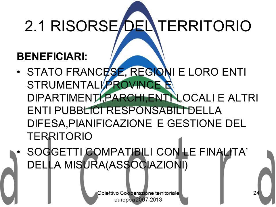 Obiettivo Cooperazione territoriale europea 2007-2013 24 2.1 RISORSE DEL TERRITORIO BENEFICIARI: STATO FRANCESE, REGIONI E LORO ENTI STRUMENTALI,PROVI