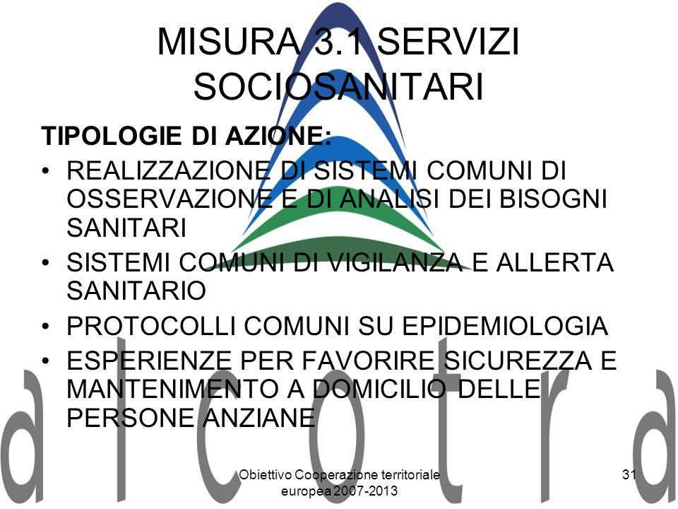 Obiettivo Cooperazione territoriale europea 2007-2013 31 MISURA 3.1 SERVIZI SOCIOSANITARI TIPOLOGIE DI AZIONE: REALIZZAZIONE DI SISTEMI COMUNI DI OSSE