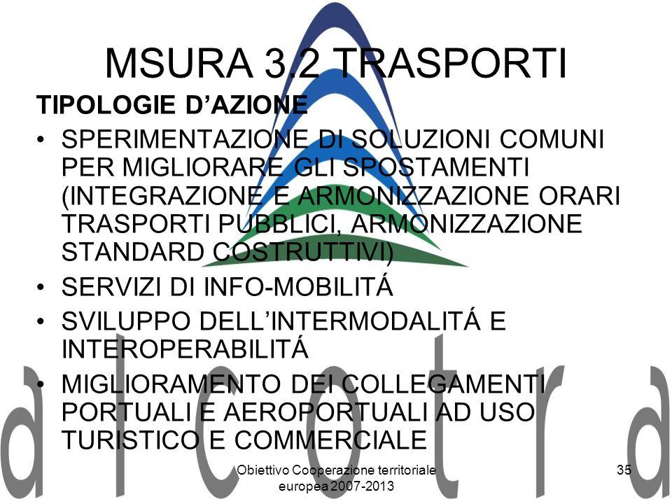 Obiettivo Cooperazione territoriale europea 2007-2013 35 MSURA 3.2 TRASPORTI TIPOLOGIE DAZIONE SPERIMENTAZIONE DI SOLUZIONI COMUNI PER MIGLIORARE GLI