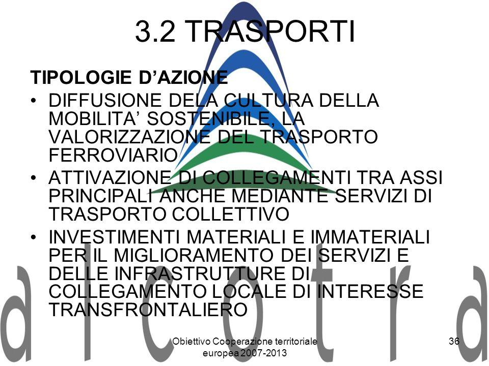 Obiettivo Cooperazione territoriale europea 2007-2013 36 3.2 TRASPORTI TIPOLOGIE DAZIONE DIFFUSIONE DELA CULTURA DELLA MOBILITA SOSTENIBILE, LA VALORI