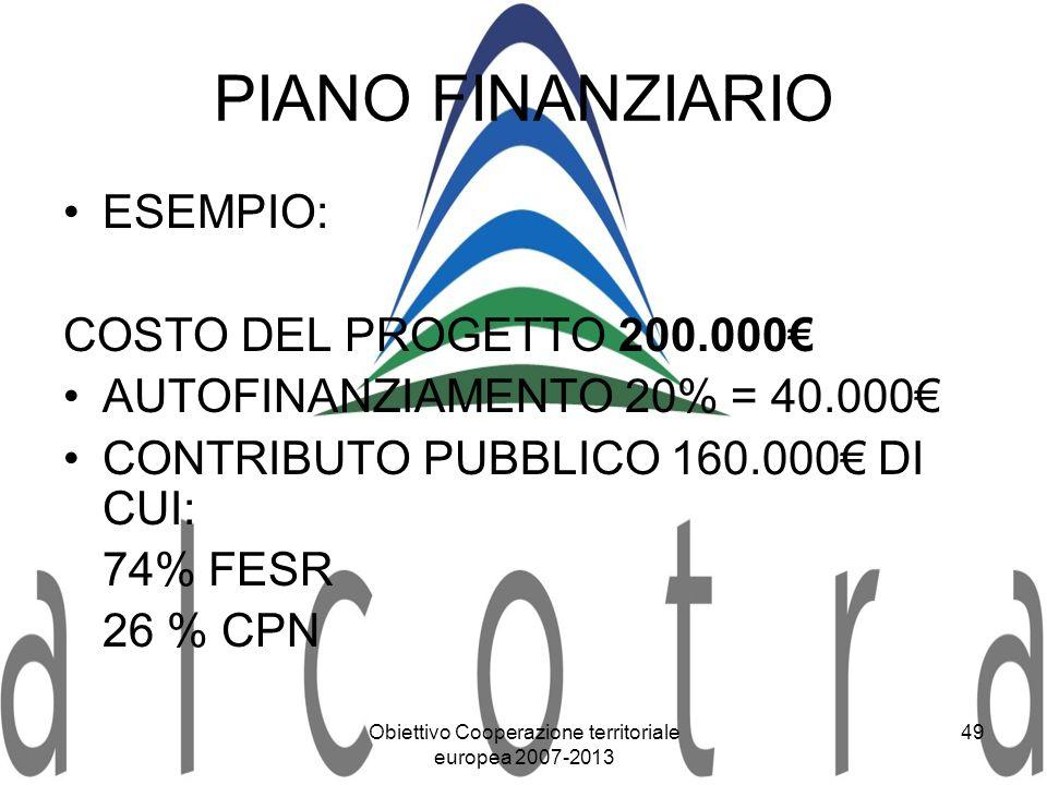 Obiettivo Cooperazione territoriale europea 2007-2013 49 PIANO FINANZIARIO ESEMPIO: COSTO DEL PROGETTO 200.000 AUTOFINANZIAMENTO 20% = 40.000 CONTRIBU