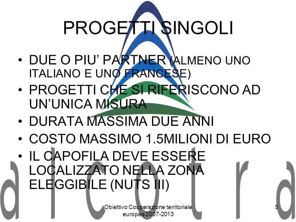 Obiettivo Cooperazione territoriale europea 2007-2013 5 PROGETTI SINGOLI DUE O PIU PARTNER (ALMENO UNO ITALIANO E UNO FRANCESE) PROGETTI CHE SI RIFERI