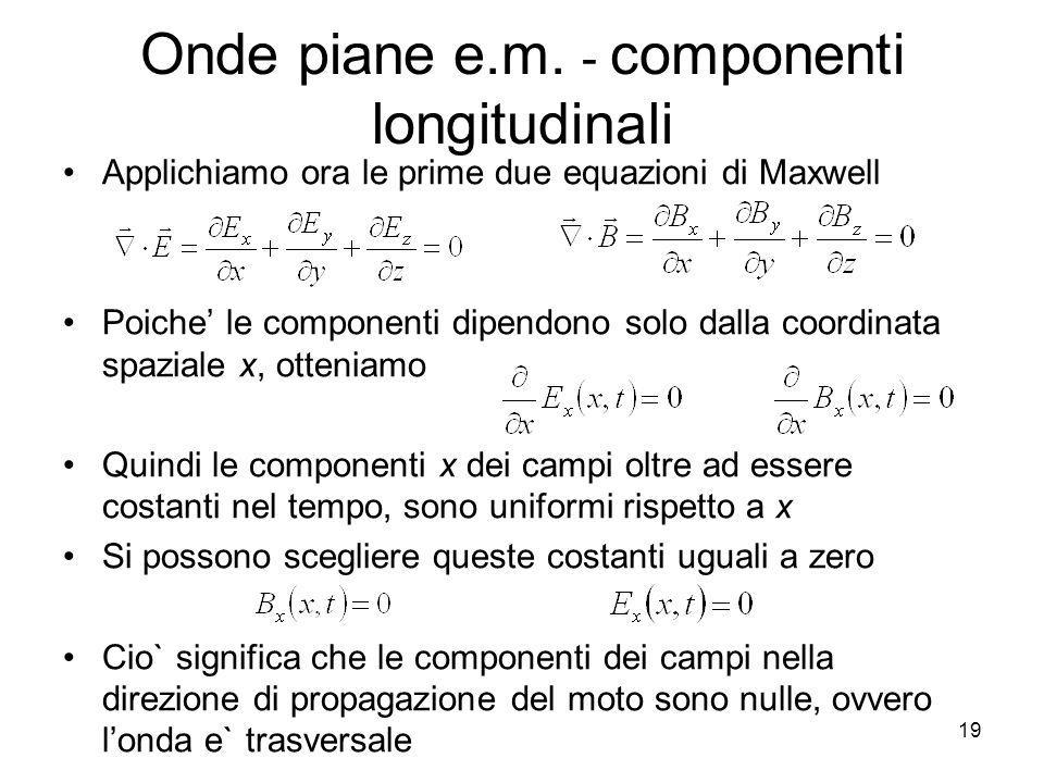 Onde piane e.m. - componenti longitudinali Applichiamo ora le prime due equazioni di Maxwell Poiche le componenti dipendono solo dalla coordinata spaz