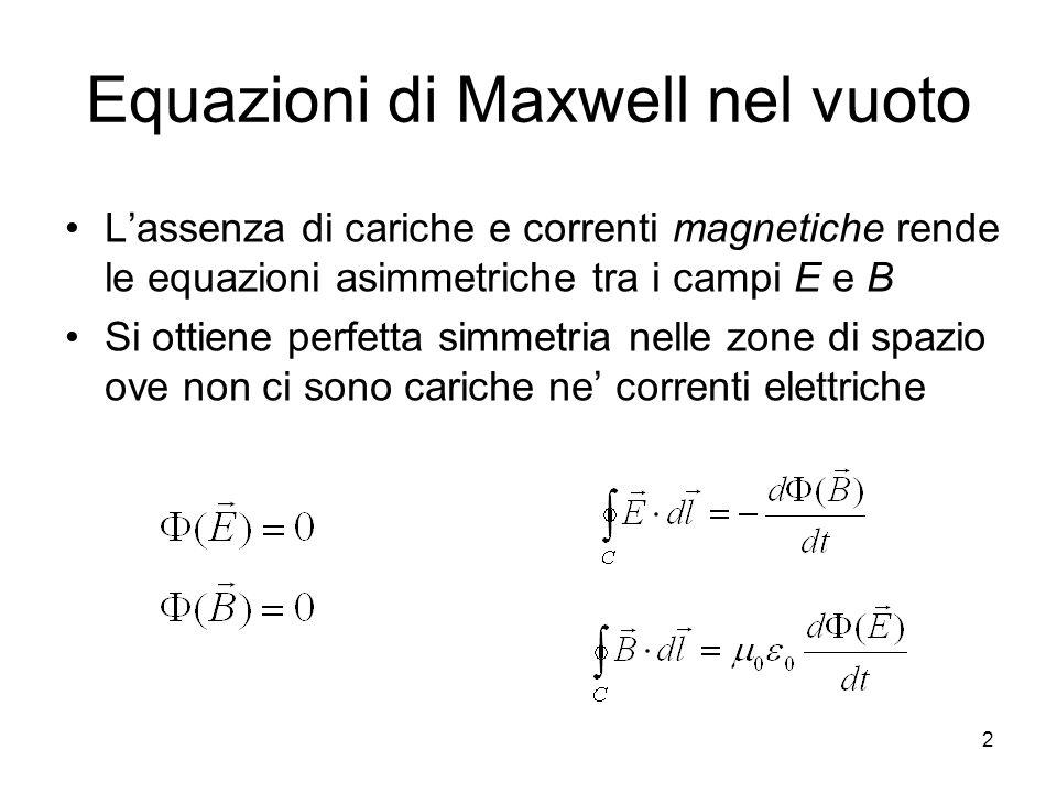 Equazioni di Maxwell nel vuoto Lassenza di cariche e correnti magnetiche rende le equazioni asimmetriche tra i campi E e B Si ottiene perfetta simmetr