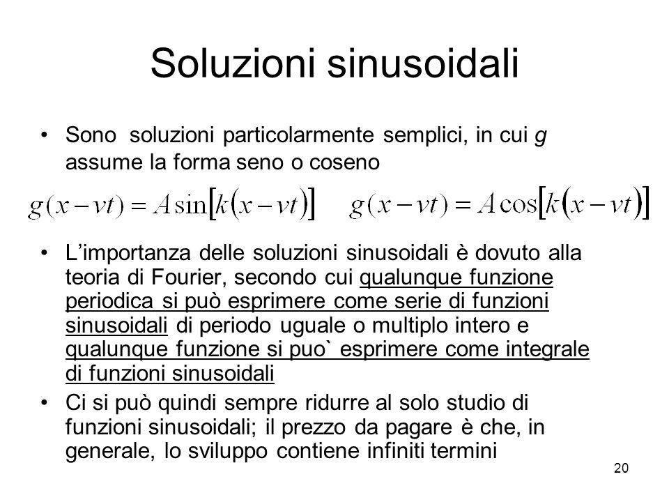 Soluzioni sinusoidali Sono soluzioni particolarmente semplici, in cui g assume la forma seno o coseno Limportanza delle soluzioni sinusoidali è dovuto