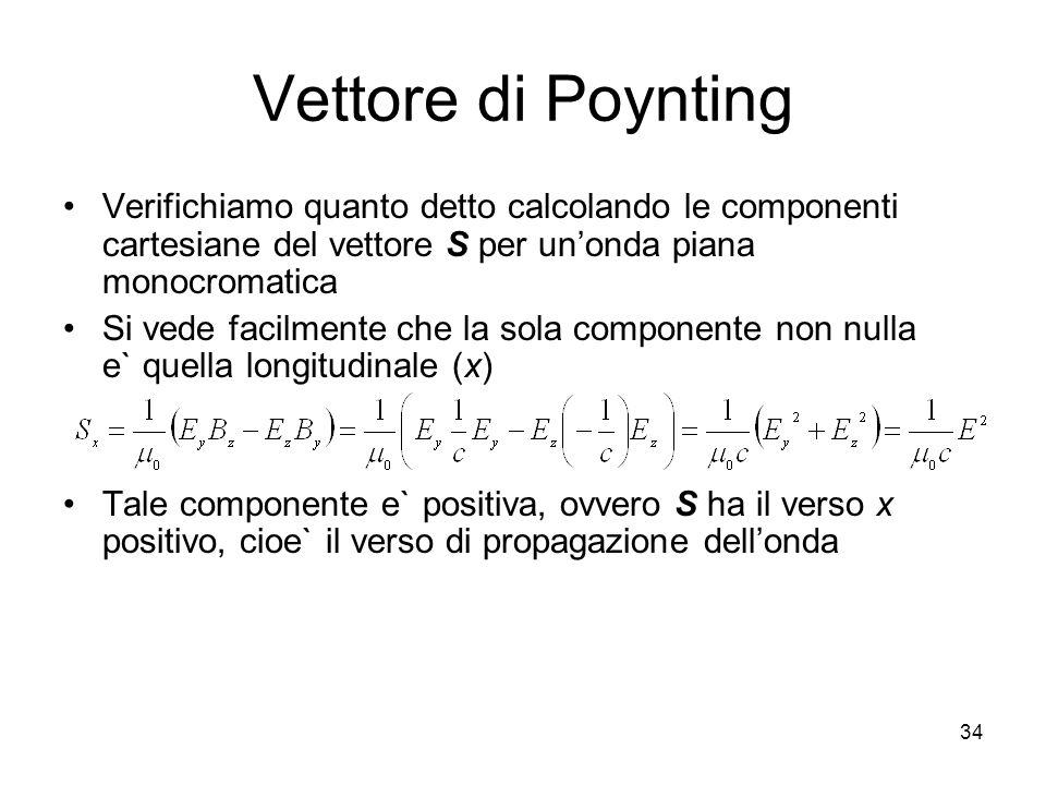 Vettore di Poynting Verifichiamo quanto detto calcolando le componenti cartesiane del vettore S per unonda piana monocromatica Si vede facilmente che
