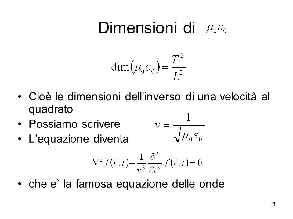 Dimensioni di Cioè le dimensioni dellinverso di una velocità al quadrato Possiamo scrivere Lequazione diventa che e` la famosa equazione delle onde 8