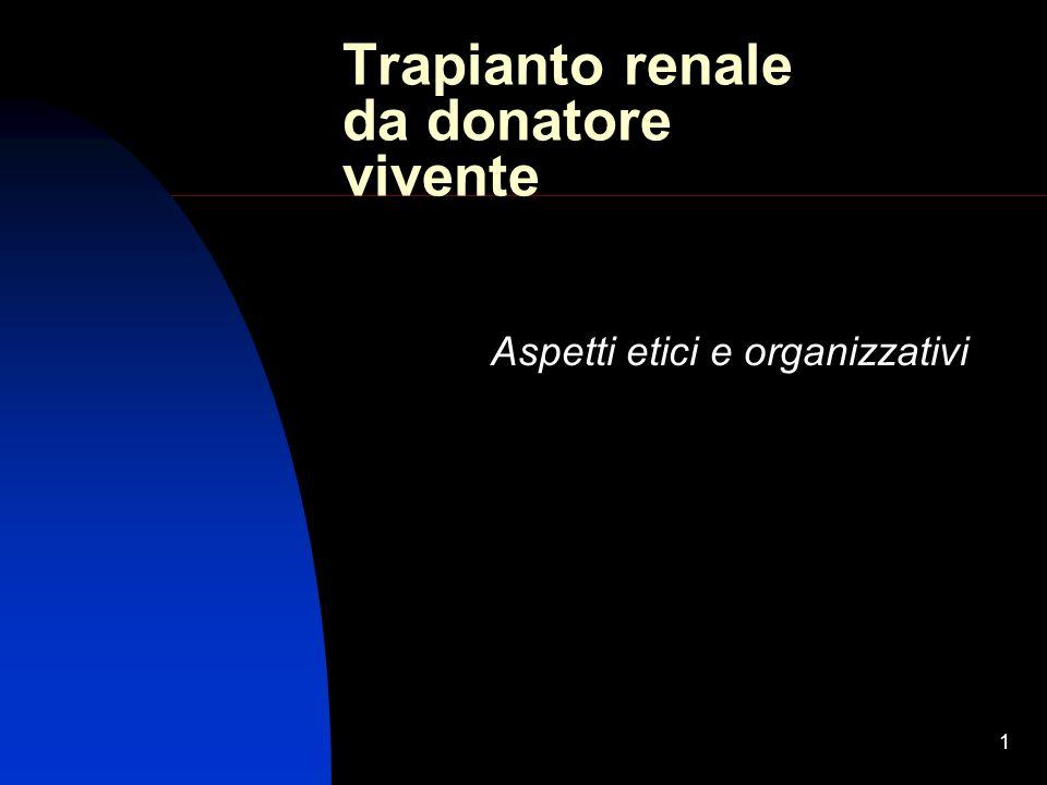1 Trapianto renale da donatore vivente Aspetti etici e organizzativi